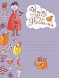 Συρμένη χέρι doodle διανυσματική ευχετήρια κάρτα αποκριών με το vampir διανυσματική απεικόνιση