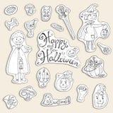 Συρμένη χέρι doodle διανυσματική συλλογή των στοιχείων αποκριών: κοστούμια απεικόνιση αποθεμάτων