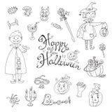 Συρμένη χέρι doodle διανυσματική συλλογή των στοιχείων αποκριών: κοστούμια ελεύθερη απεικόνιση δικαιώματος