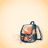 Συρμένη χέρι doodle σχολική τσάντα Μπλε περίληψη μανδρών, κίτρινο υπόβαθρο watercolor grunge Μαθητής, σπουδαστής, σχολείο, εκπαίδ Στοκ Φωτογραφίες