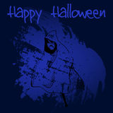 Συρμένη χέρι doodle τρομακτική σκιαγραφία φαντασμάτων Μαύρη απεικόνιση, μπλε χρωματισμένο υπόβαθρο αποκριές ευτυχείς Στοκ Φωτογραφίες