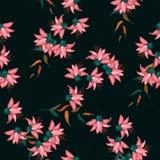 Συρμένη χέρι floral διανυσματική απεικόνιση Ιαπωνικά λουλούδια της Ασίας άνοιξη σχεδίων κήπων άνευ ραφής διανυσματική απεικόνιση