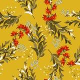 Συρμένη χέρι floral διανυσματική απεικόνιση Ιαπωνικά λουλούδια της Ασίας άνοιξη σχεδίων κήπων άνευ ραφής απεικόνιση αποθεμάτων