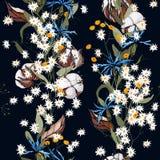 Συρμένη χέρι floral διανυσματική απεικόνιση Ιαπωνικά λουλούδια της Ασίας άνοιξη σχεδίων κήπων άνευ ραφής, βαμβάκι απεικόνιση αποθεμάτων