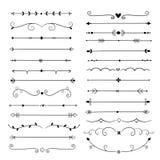 Συρμένοι χέρι διαιρέτες Εκλεκτής ποιότητας σύνορα στοιχείων σχεδίου γραμμών Καλλιγραφική περίκομψη διακόσμηση Αναδρομικός διαιρέτ διανυσματική απεικόνιση