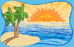 Συρμένοι χέρι διανυσματικοί ήλιος, ωκεανός, και φοίνικας Στοκ Εικόνα
