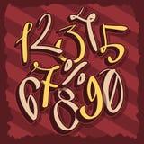 Συρμένοι χέρι καλλιγραφικοί αριθμοί με ένα σημάδι τοις εκατό συρμένο χέρι Στοκ Φωτογραφία