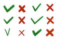 Συρμένοι χέρι κρότωνας και σταυρός Ένδειξη σημαδιών ελέγχου για την έννοια ναι και το αριθ. διανυσματική απεικόνιση