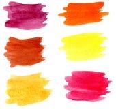 Συρμένοι χέρι λεκέδες βουρτσών watercolor καθορισμένοι στοκ φωτογραφία