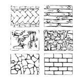 Συρμένοι χέρι πέτρες επίστρωσης και φραγμοί Στοκ Εικόνες