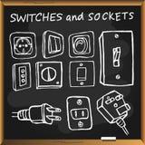 Συρμένοι χέρι switchers στον πίνακα κιμωλίας Στοκ Φωτογραφία