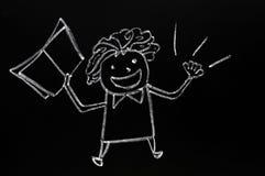 συρμένος δάσκαλος αριθμού κιμωλίας πινάκων Στοκ εικόνες με δικαίωμα ελεύθερης χρήσης