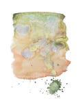 Συρμένος λεκές χρωμάτων τέχνης μορφής χρώματος ακουαρελών Watercolor χέρι splatter Στοκ Εικόνες