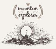 Συρμένος εξερευνητής έννοιας νικητών βουνών ατόμων τοπ ελεύθερη απεικόνιση δικαιώματος