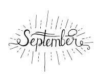 Συρμένος ο χέρι γράφοντας γειά σου απομονωμένος Σεπτέμβριος Μαύρος μελανιού στο άσπρο υπόβαθρο ελεύθερη απεικόνιση δικαιώματος