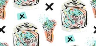 Συρμένος χέρι άνευ ραφής επαναλαμβάνει το σχέδιο με τις succulent εγκαταστάσεις στο μαύρο, άσπρο και τυρκουάζ μπλε Στοκ εικόνα με δικαίωμα ελεύθερης χρήσης