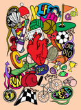 Συρμένος χέρι αθλητικός εξοπλισμός Doodle, σχεδιασμός εργαλείων γραμμών εικονογράφων Στοκ Εικόνες