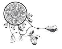 Συρμένος χέρι αμερικανός ιθαγενής dreamcatcher με τα φτερά Στοκ φωτογραφία με δικαίωμα ελεύθερης χρήσης