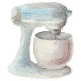 Συρμένος χέρι αναμίκτης watercolor στο άσπρο υπόβαθρο Σειρά εργαλείων κουζινών Στοκ Φωτογραφίες