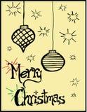 Συρμένος χέρι αναδρομικός χαιρετισμός Χριστουγέννων Στοκ Φωτογραφίες