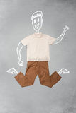 Συρμένος χέρι αστείος χαρακτήρας στα περιστασιακά ενδύματα Στοκ Φωτογραφίες