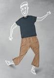 Συρμένος χέρι αστείος χαρακτήρας στα περιστασιακά ενδύματα Στοκ εικόνες με δικαίωμα ελεύθερης χρήσης