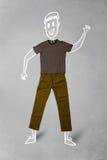 Συρμένος χέρι αστείος χαρακτήρας στα περιστασιακά ενδύματα Στοκ φωτογραφίες με δικαίωμα ελεύθερης χρήσης
