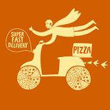 Συρμένος χέρι γρήγορος μοτοσυκλετιστής με την πίτσα Στοκ Φωτογραφίες