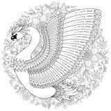 Συρμένος χέρι διακοσμημένος κύκνος Εικόνα για τα ενήλικα χρωματίζοντας βιβλία, σελίδα ελεύθερη απεικόνιση δικαιώματος