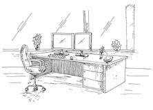 Συρμένος χέρι εργασιακός χώρος πίσω από τα όργανα ελέγχου Λειτουργώντας πίνακας με δύο όργανα ελέγχου, καρέκλα γραφείων Διανυσματ στοκ εικόνα
