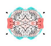 Συρμένος χέρι διανυσματικός αφηρημένος δημιουργικός ασυνήθιστος εκτός από το πρότυπο καρτών ημερομηνίας με το γραφικό λουλούδι στ Στοκ Φωτογραφίες