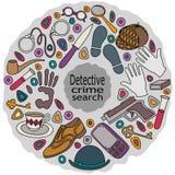 Συρμένος χέρι ιδιωτικός αστυνομικός doodles κινούμενων σχεδίων χαριτωμένος και εγκληματική διανυσματική απεικόνιση ελεύθερη απεικόνιση δικαιώματος