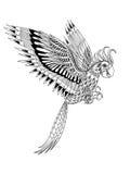 Συρμένος χέρι καλλιτεχνικά διακοσμητικός φυλετικός παπαγάλος, τοτέμ πουλιών για ελεύθερη απεικόνιση δικαιώματος