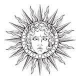 Συρμένος χέρι παλαιός ήλιος ύφους με το πρόσωπο του ελληνικού και ρωμαϊκού Θεού απόλλωνας Δερματοστιξία λάμψης ή διανυσματική απε ελεύθερη απεικόνιση δικαιώματος