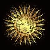 Συρμένος χέρι παλαιός ήλιος ύφους με το πρόσωπο του ελληνικού και ρωμαϊκού Θεού απόλλωνας Δερματοστιξία λάμψης ή διανυσματική απε διανυσματική απεικόνιση