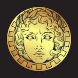 Συρμένος χέρι παλαιός ήλιος ύφους με το πρόσωπο του ελληνικού και ρωμαϊκού Θεού απόλλωνας Δερματοστιξία λάμψης ή διανυσματική απε απεικόνιση αποθεμάτων