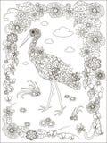 Συρμένος χέρι πελαργός, floral πλαίσιο γραπτό Στοκ Εικόνα