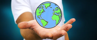 Συρμένος χέρι πλανήτης Γη εκμετάλλευσης επιχειρηματιών Στοκ Εικόνες