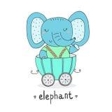 Συρμένος χέρι χαριτωμένος ελέφαντας στο ρυμουλκό Τυπωμένη ύλη για τα παιδιά Στοκ εικόνες με δικαίωμα ελεύθερης χρήσης