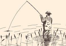 Συρμένος χέρι ψαράς Στοκ Εικόνες