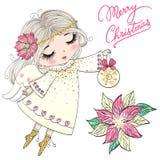 Συρμένος χέρι όμορφος χαριτωμένος λίγο κορίτσι αγγέλου Χριστουγέννων με ένα λουλούδι διανυσματική απεικόνιση