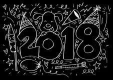 Συρμένος χέρι doodle αριθμός 2018 Στοκ Φωτογραφίες