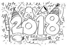Συρμένος χέρι doodle αριθμός 2018 Στοκ Φωτογραφία