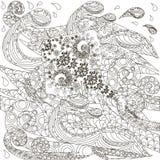Συρμένος χέρι doodle stingray στα κύματα, χρωματίζοντας απόθεμα σελίδων αντι πίεσης απεικόνιση αποθεμάτων