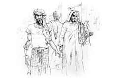 συρμένο Άραβας παλαιό σκίτσο αγοράς χεριών Στοκ φωτογραφία με δικαίωμα ελεύθερης χρήσης