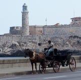 Συρμένο άλογο κάρρο στην Αβάνα Κούβα Στοκ φωτογραφία με δικαίωμα ελεύθερης χρήσης