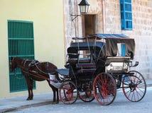 Συρμένο άλογο κάρρο στην Αβάνα Κούβα Στοκ Εικόνες