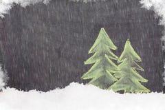 Συρμένο δέντρο έλατου Χριστουγέννων χέρι Στοκ φωτογραφία με δικαίωμα ελεύθερης χρήσης