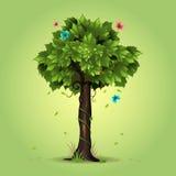 συρμένο απομονωμένο χέρι διανυσματικό λευκό θερινών δέντρων ελεύθερη απεικόνιση δικαιώματος