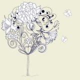 συρμένο δέντρο σκίτσων χερ διανυσματική απεικόνιση